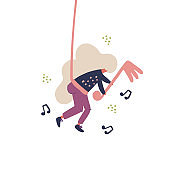 Cute woman hanging on music note flat illustration
