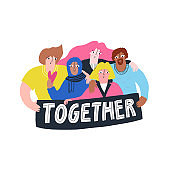 Multiracial people standing together flat hand drawn illustration. Multiethnic group isolated on white background. Happy students hugging. International friendship, racial diversity concept