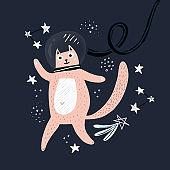 Cute cat astronaut handdrawn vector illustration