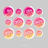 Set of sale stickers. Colorful abstract design.