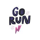 Go run hand drawn lettering with lightning symbol