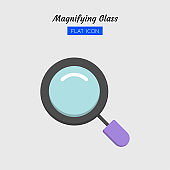 color flat icon symbol, magnifying glass tool, magnification, search, zoom, Isolated vector design