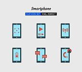 color flat icon symbol set, smartphone screen, digital technology, Isolated vector design, 64 pixel perfect, for Digital Design, website, application and Physical Design, print, product, packaging, other