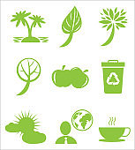 Ecology Protection Themed Green Flat Icons Set