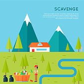 Scavenge Concept Vector in Flat Style Design.