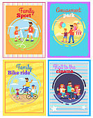 Father with Amusing with Kids Set of Four Cards