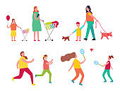 Mother and Child Activities Vector Illustration