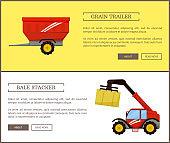 Bale Stacker and Grain Trailer Vector Illustration