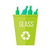 Green Recycle Garbage Bin with Glass