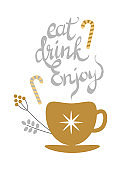 Eat Drink Enjoy Banner with Golden Decorated Tea