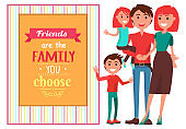 Friendly Family with Children near Big Quotation