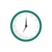 Clock icon in flat style on a white background