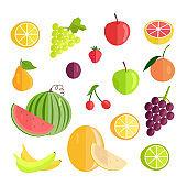 Set of Fruits Flat Design Vector Illustration.