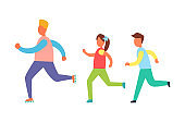Running People Set, Isolated Vector Cartoon Icon