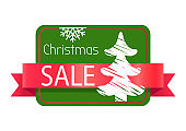 Christmas Best Sale Label Abstract New Year Tree