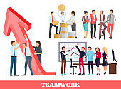 Teamwork Growth and Success Vector Illustration