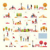 Autumn People Fall Trees Park Isolated Set Vector