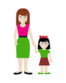 Mother and Daughter illustration in Flat Design.