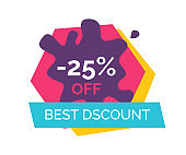 -25% Off Best Discount Label Vector Illustration
