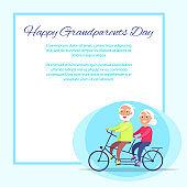Happy Grandparents Day Senior Couple on Bicycle