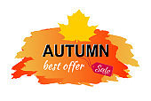 Autumn Best Offer Sale Placard Vector Illustration