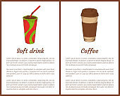 Soft Drink and Coffee Cup Vector Illustration