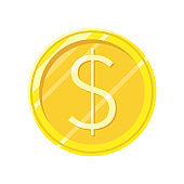 Dollar Gold Coin Vector Icon in Flat Style Design