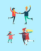 Winter Active People Family and Kid Set Vector