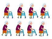 Old Woman with Rolling Walker Simple Cartoon Style