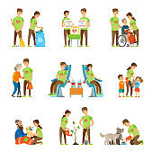 Volunteers and Charity Set Vector Illustration