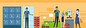 Supermarket working process concept illustration.