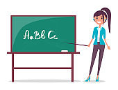 Young Teacher and Blackboard Vector Illustration