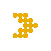 Modern yellow dotted arrow, great design for any purposes. Art vector illustration. Simple isolated pictogram.