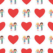 Seamless Pattern with boy and Girl Couple Wings