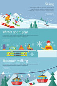 Skiing. Winter Sport Gear. Mountain Walking. Set