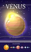 Venus Planet. Sun System. Universe. Vector