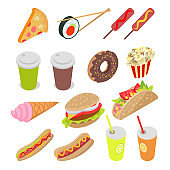 Unhealthy Food and Drinks Set. Vector Illustration