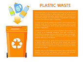 Plastic Waste Poster and Info Vector Illustration