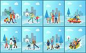 Set of Family Winter Outdoor Activities Vector