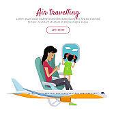Air Travelling Conceptual Banner. Vector design