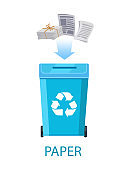 Paper Waste with Container Vector Illustration