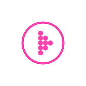 Modern pink dotted arrow, great design for any purposes. Art vector illustration. Simple isolated pictogram.