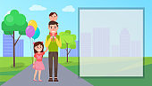 Father and Children Outdoor Vector Illustration