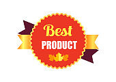 Best Product Sticker and Leaf Vector Illustration