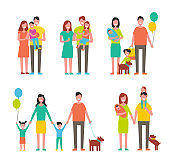 Family Members Cartoon Characters Walking Together