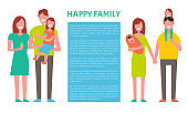 Happy Family Mother Father and Son Isolated Circle