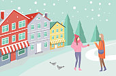 Women on Snowing Street near Colorful House Vector