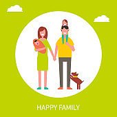 Happy Family Poster Mother Father and Daughters