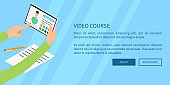 Video Course Concept with Hands Holding Tablet