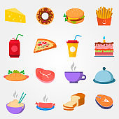 Food in flat style on a grey background